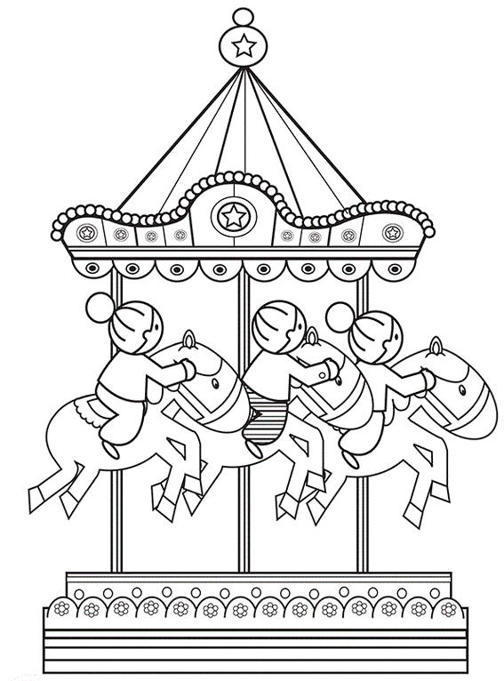 Glittering Carousel Coloring Page