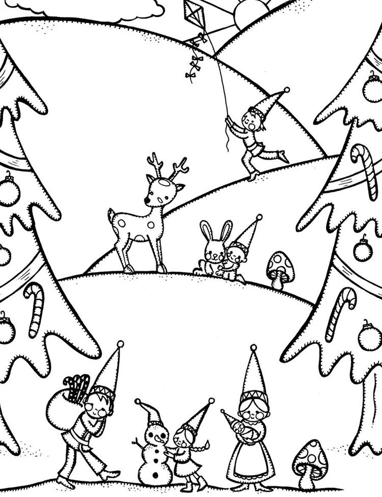 Gnome Free Winter Coloring Pages