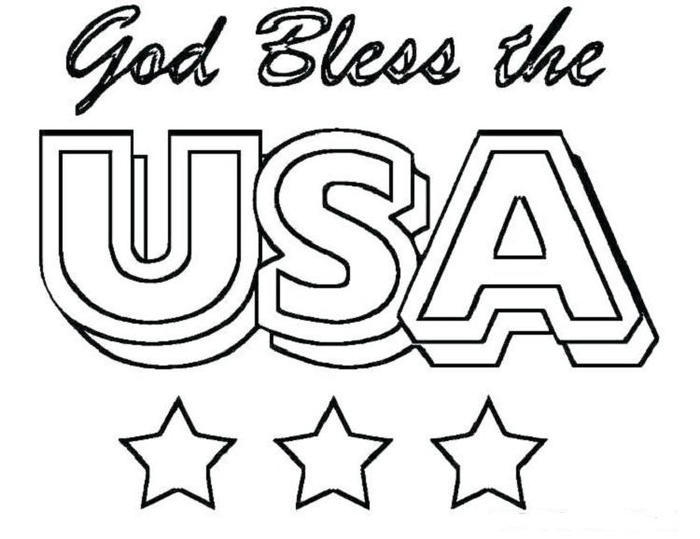 God Bless The Usa Coloring Pages