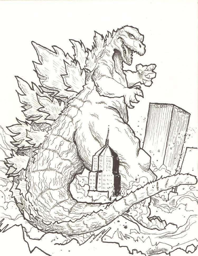 Godzilla Coloring Pages Destroying Buildings