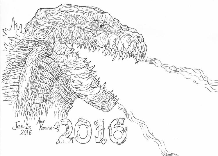 Godzilla Coloring Pages Firing By Amir Kameron