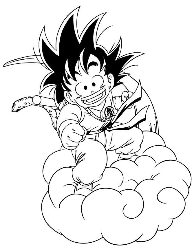 Goku Coloring Pages Riding Nimbus