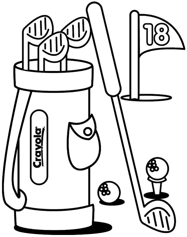 Golf Equipment Printable Coloring Pages