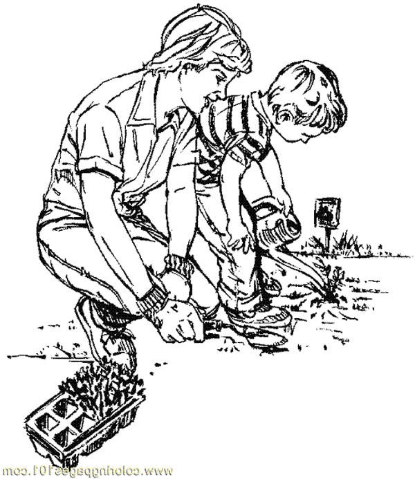 Good Lesson For Kid With Gardening Coloring Pages