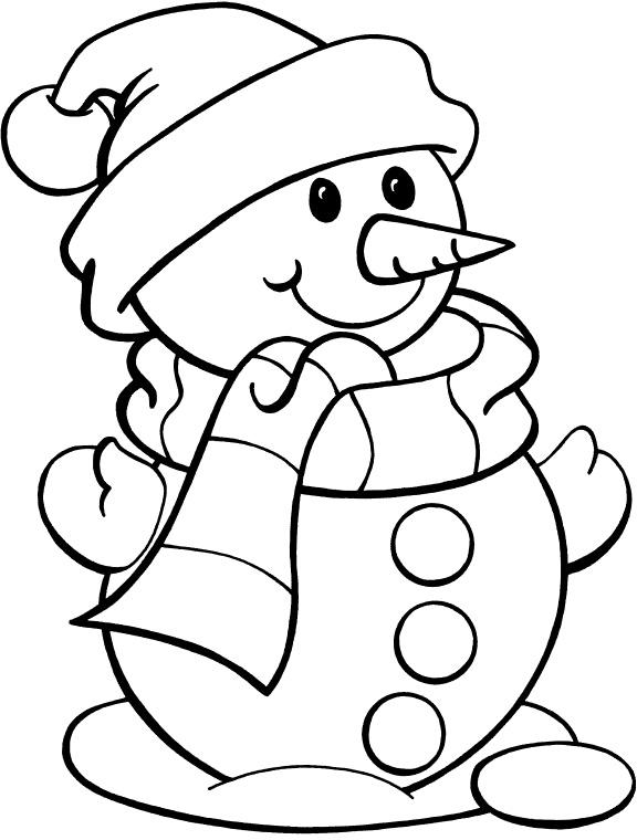 Good Snowman Coloring Pages Coloring With Snowman