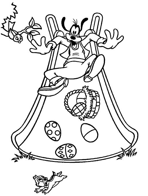 Goofy And Easter Egg Disney Easter Coloring Pages