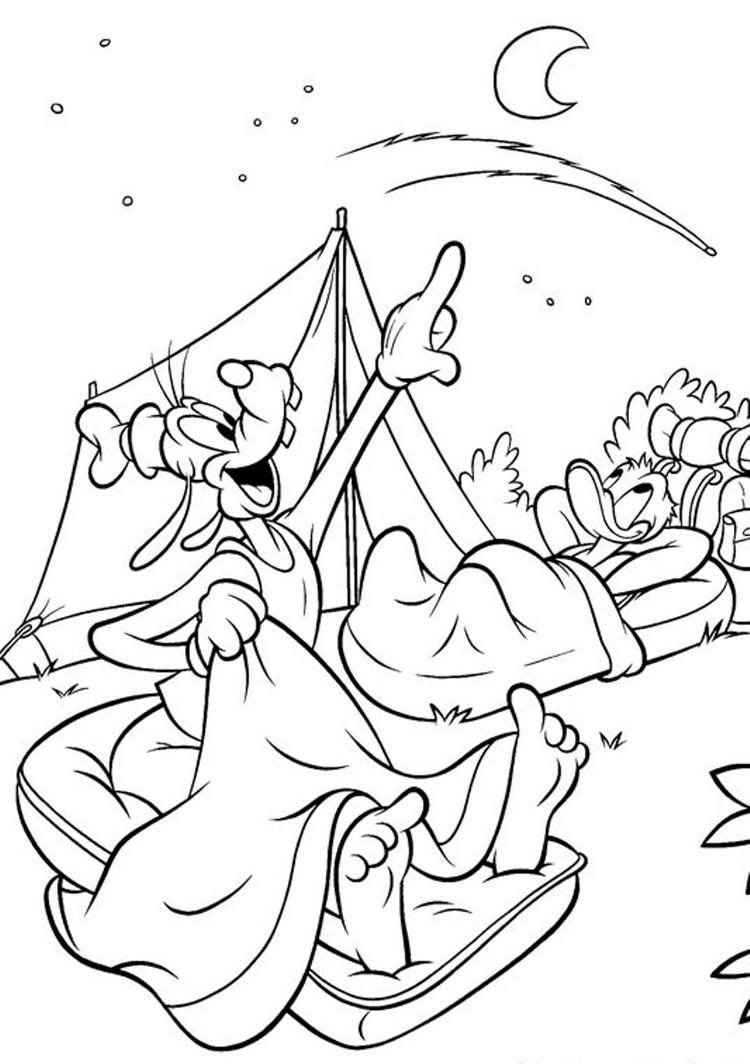 Goofy Coloring Pages Camping
