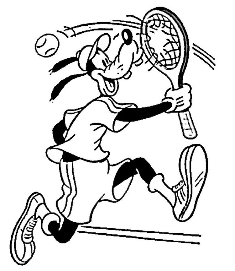 Goofy Playing Tennis Coloring Pages