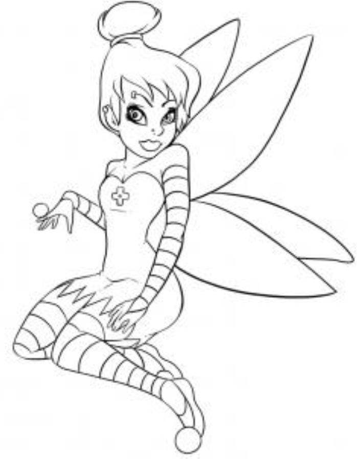 Goth Tinkerbell Coloring Page