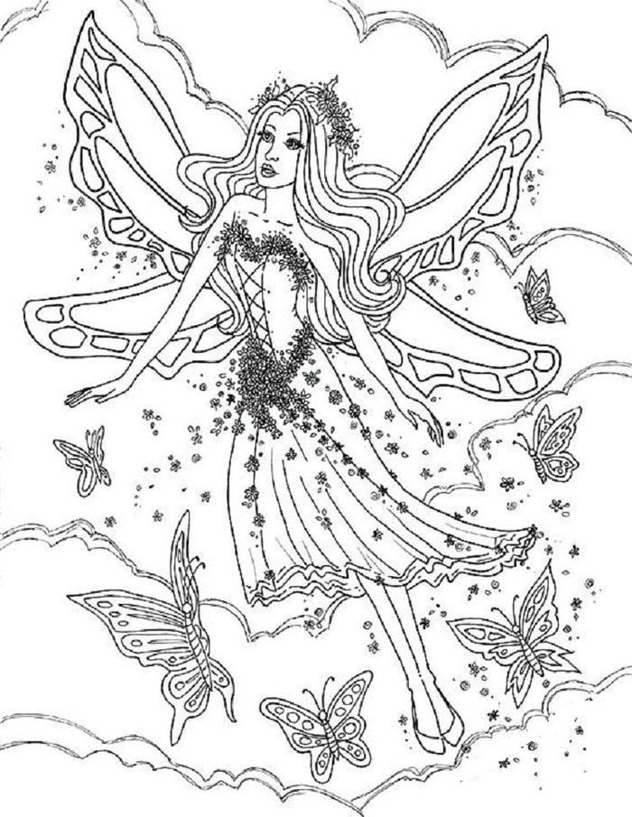Gothic Fairies And Butterfly Coloring Pages