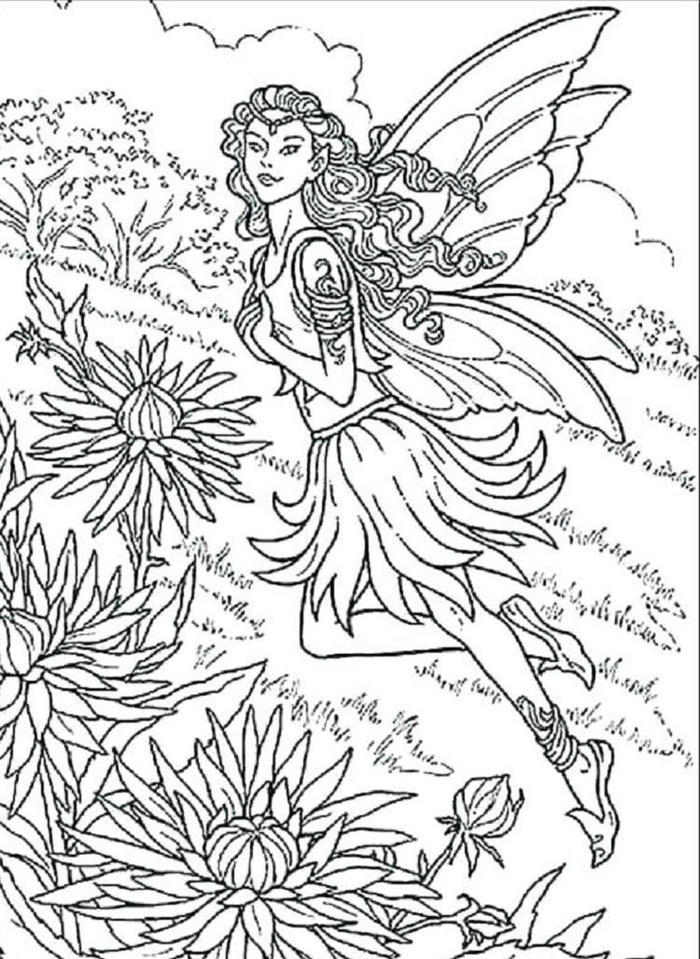 Gothic Fairies And Flowers Coloring Pages