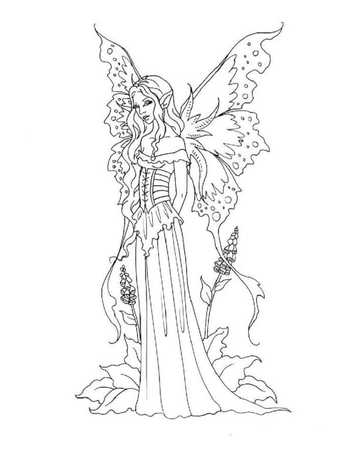 Gothic Fairies Coloring Pages Printable