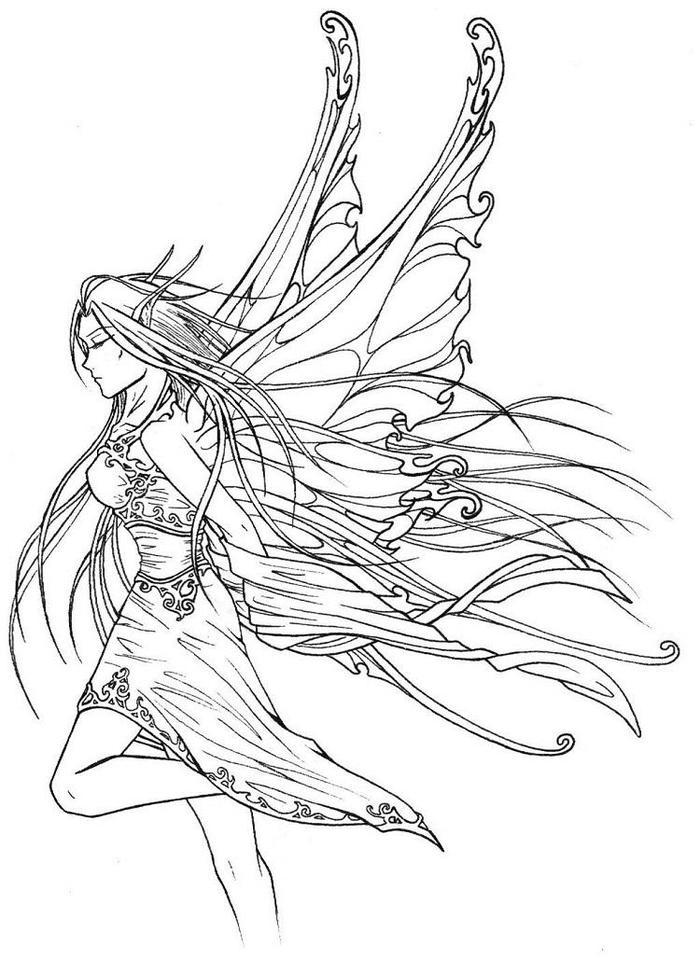 Gothic Fairies Coloring Pages To Download