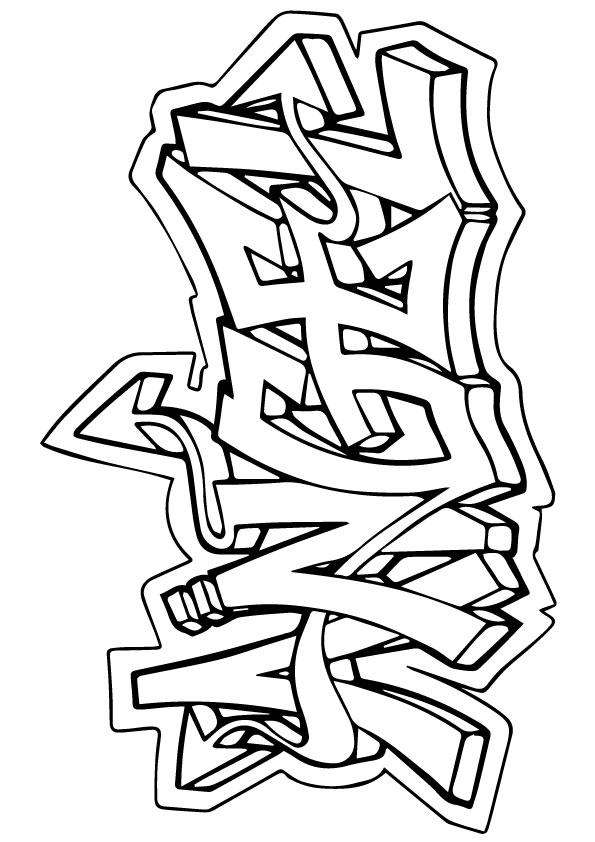 Graffiti Coloring Pages Angel