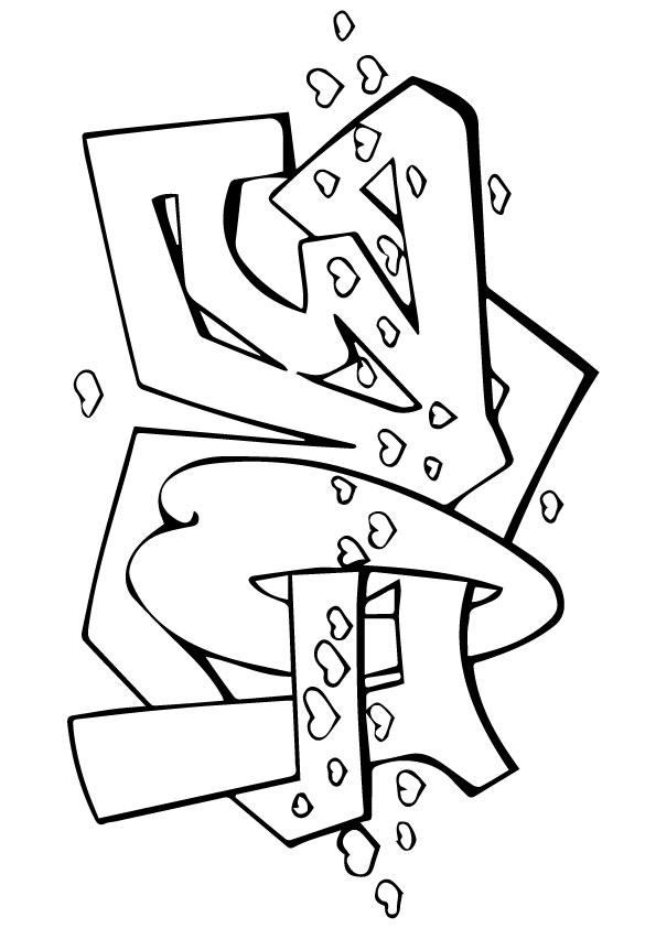 Graffiti Coloring Pages Love Hearts