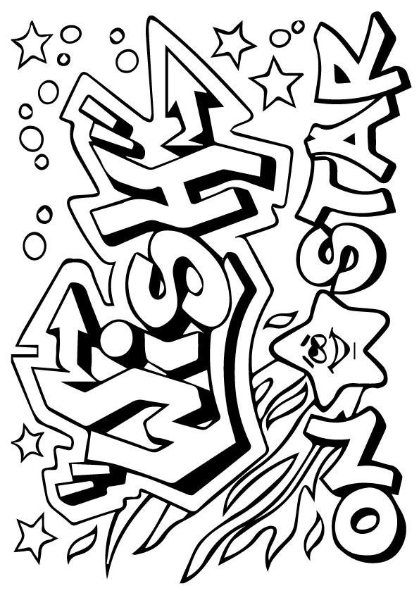 Graffiti Coloring Pages Shooting Star