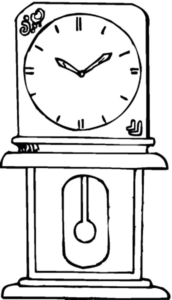 Grandfather In The House Analog Clock Coloring Pages