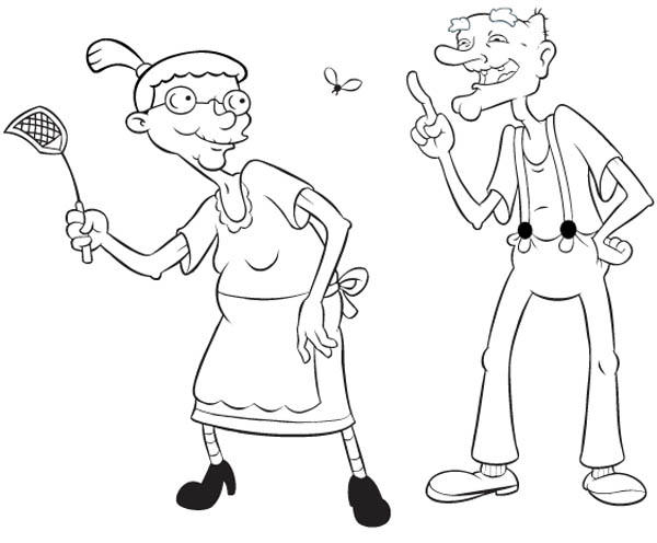 Grandma Pookie And Grandpa Phil In Hey Arnold Coloring Pages