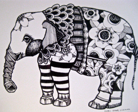 Great Abstract Elephant Coloring Pages For Adults