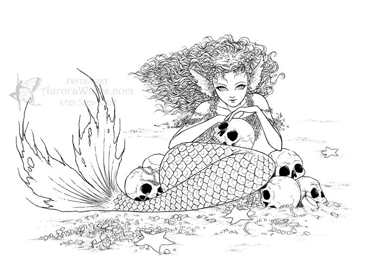 Great Coloring Pages For Teenagers Difficult Mermaid