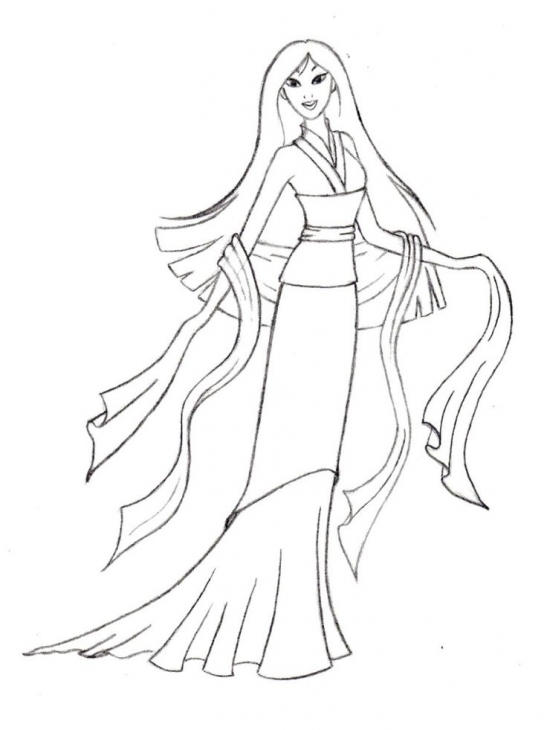 Great Mulan Dress Coloring Pages