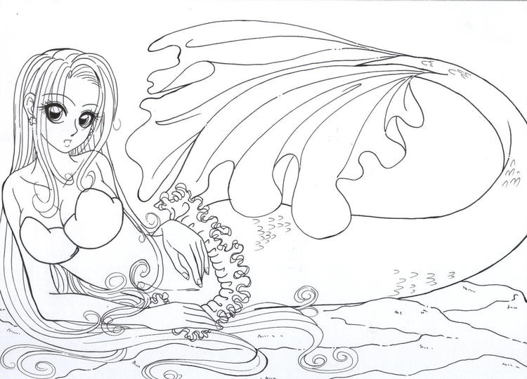 Great Realistic Mermaid Coloring Pages