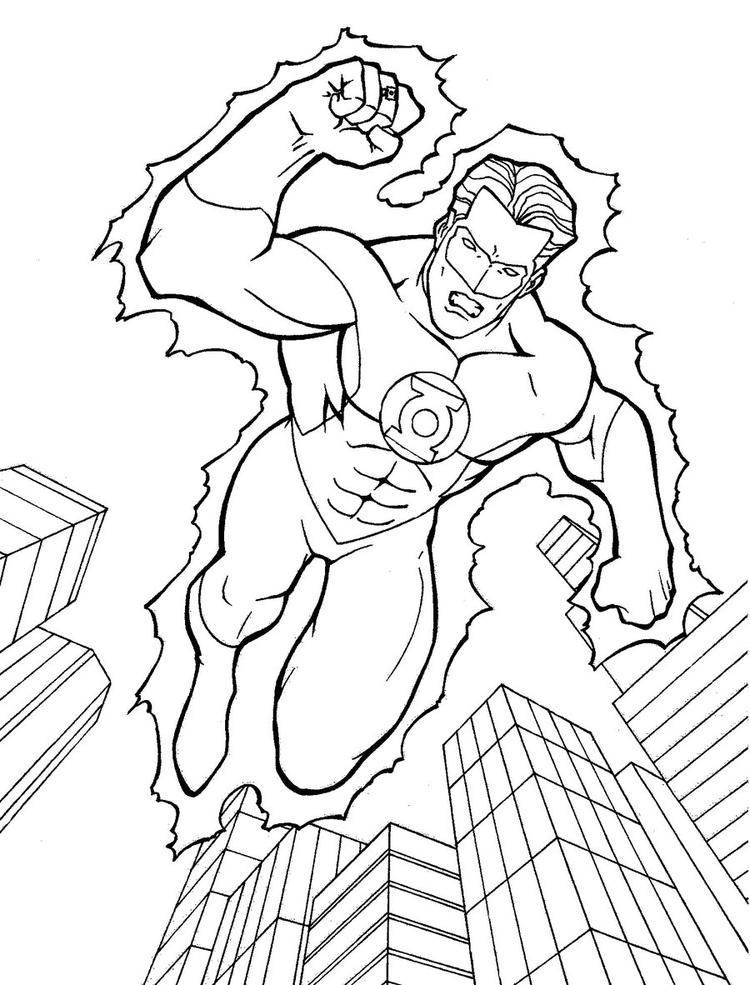 Green Lantern Coloring Pages Flying