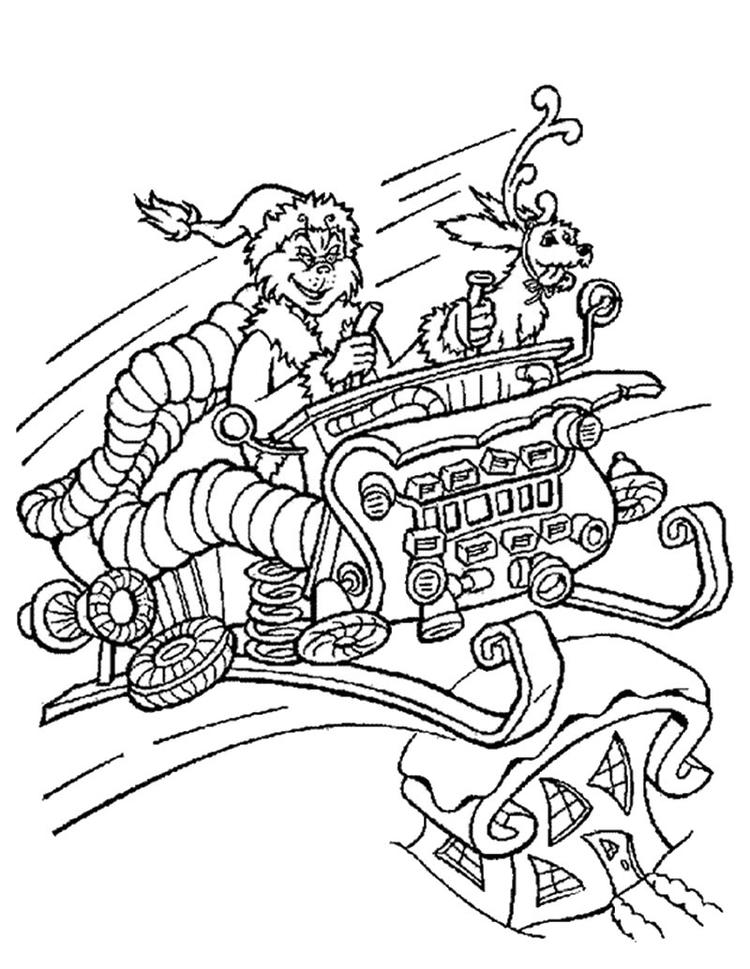 Grinch Coloring Pages On His Sleigh