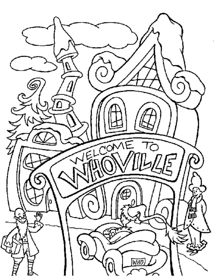Grinch Coloring Pages Whoville Town