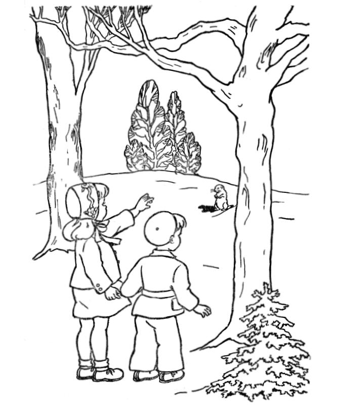 Groundhog Day Winter Themed Coloring Pages