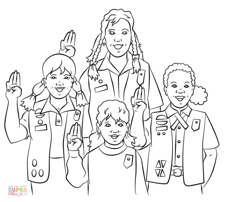 Group Of Girl Scouts Coloring Page