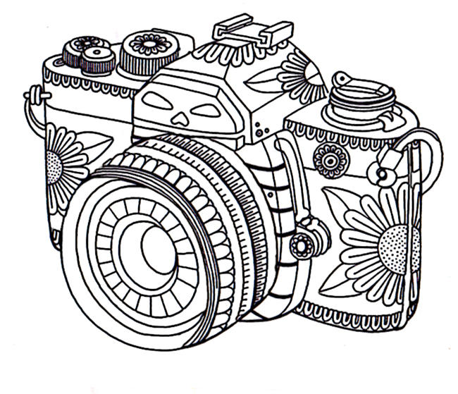 Grown Up Coloring Pages Camera