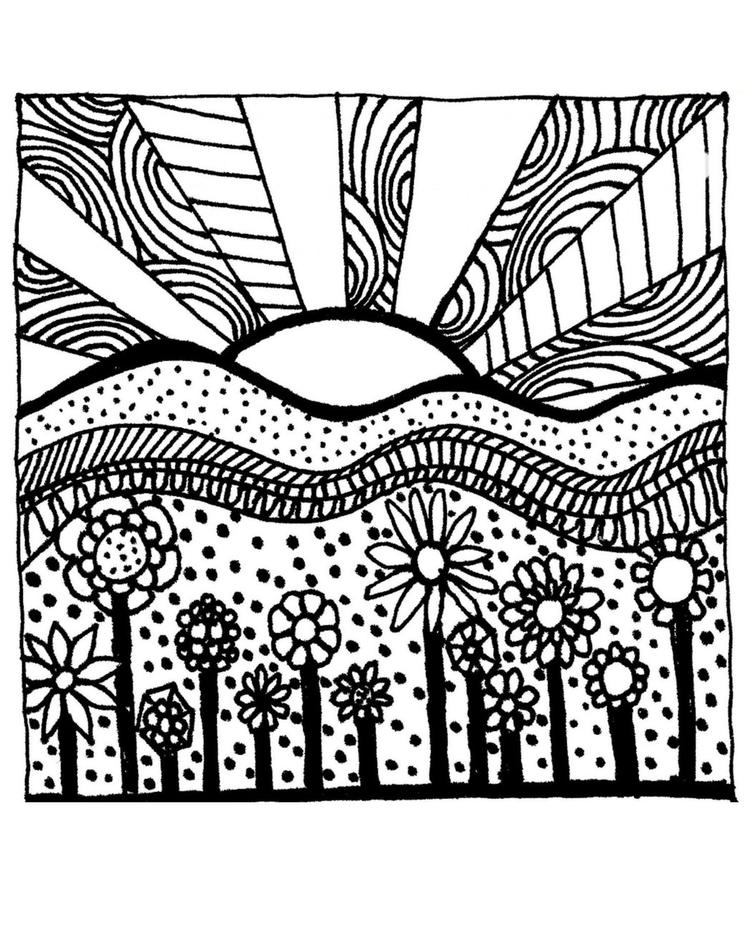 Grown Up Coloring Pages Sunset