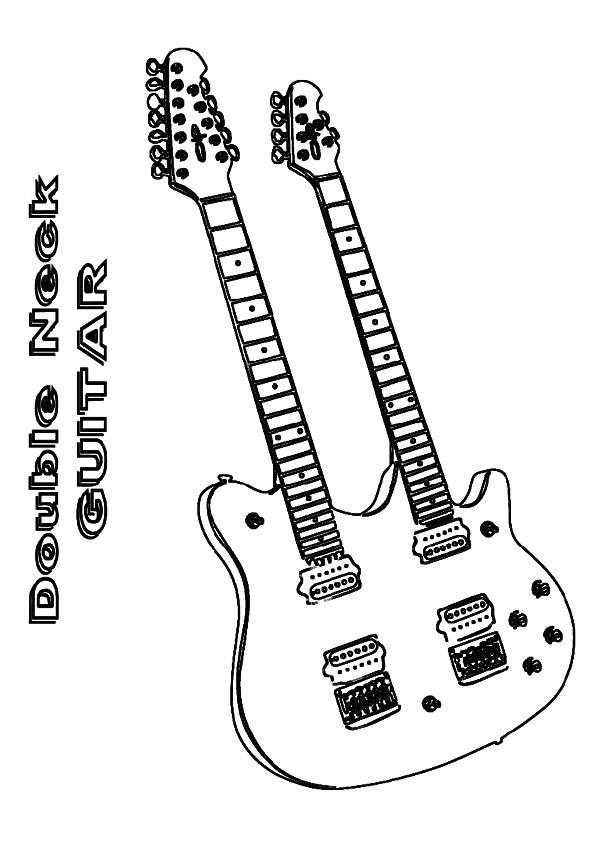Guitar Coloring Pages Double Neck