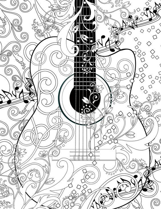 Guitar Coloring Pages For Adults