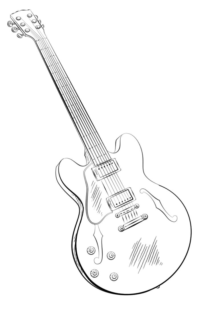 Guitar Coloring Pages Printable Free