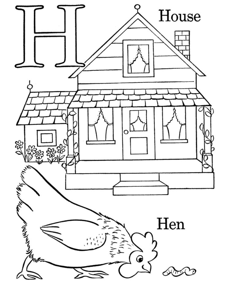 H Alphabet Coloring Pages Printable