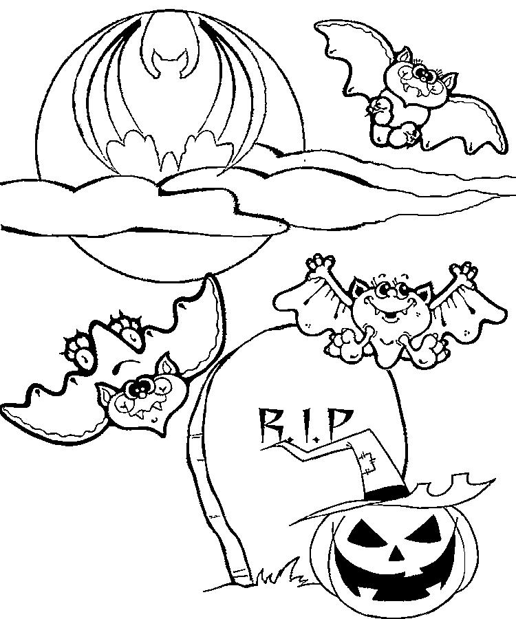 Halloween Bat Colouring Pages For Kids