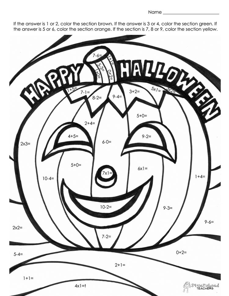 Halloween Color By Number Pages For Preschool