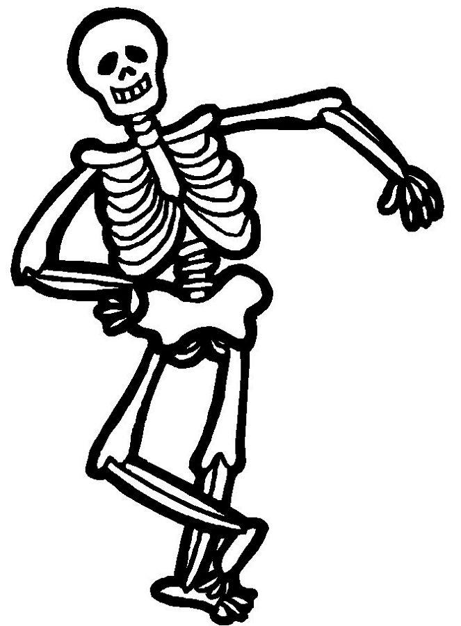 Halloween Coloring Pages For Kids Skeleton