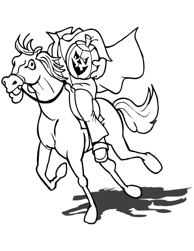 Halloween Coloring Pages Headless Horseman