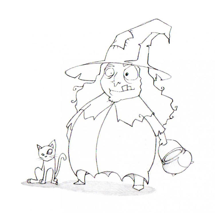 Halloween Coloring Pages Print Out Witch And Cat