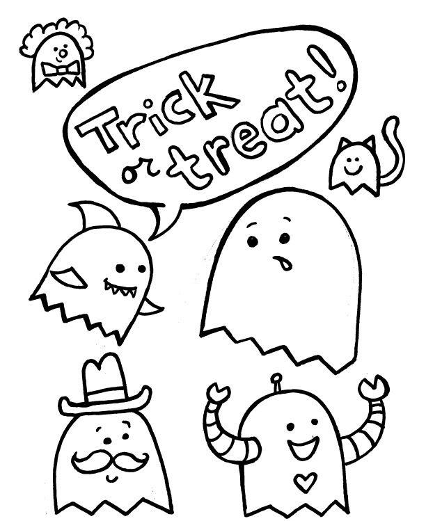 Halloween Coloring Pages Trick Or Treat
