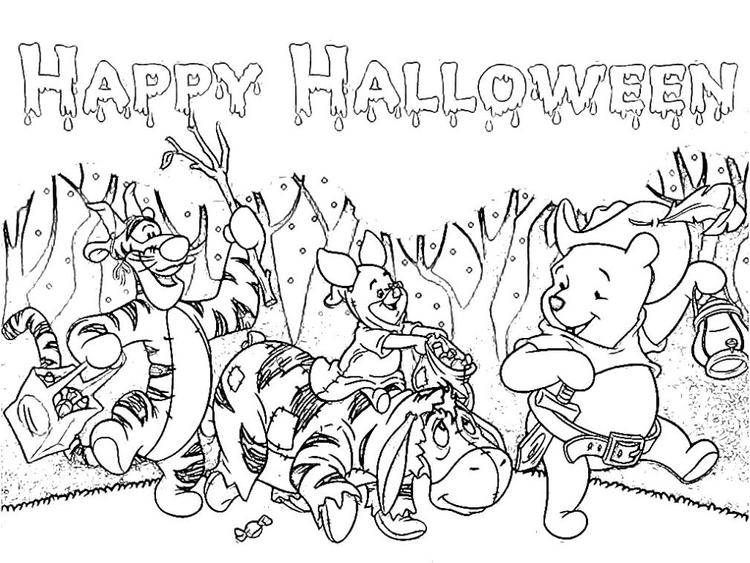 Halloween Coloring Pages Winnie The Pooh And Friends