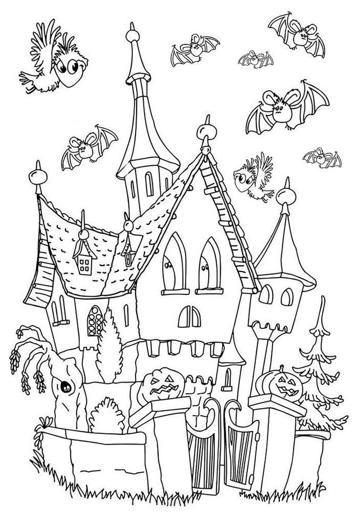 Halloween Haunted Castle Coloring Pages