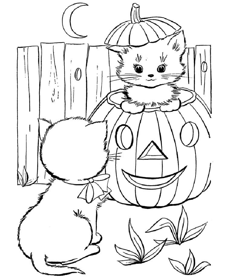 Halloween Kitten Coloring Pages