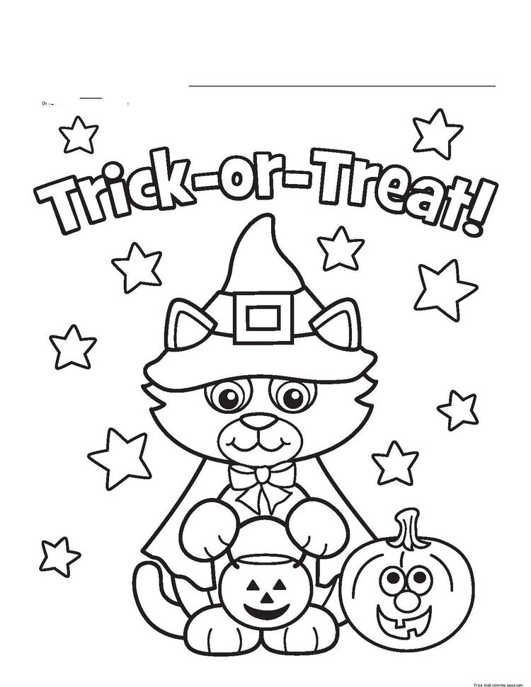 Halloween Kitty Costume Printabel Coloring Pages