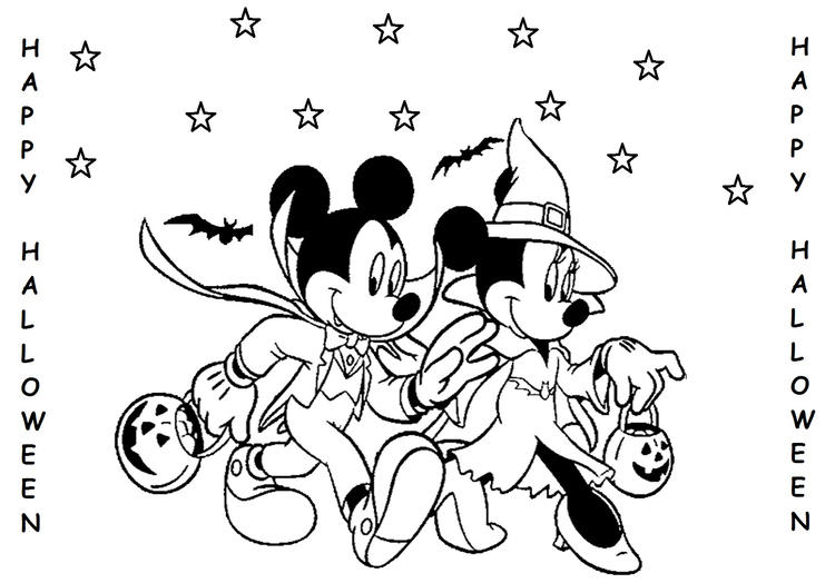 Halloween Mickey And Minnie Mouse Coloring Pages