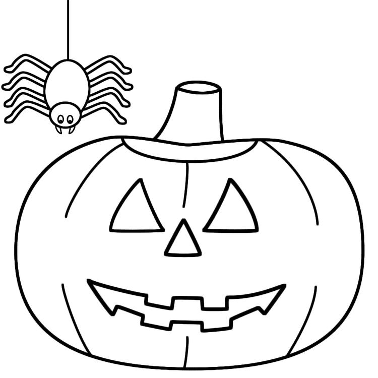 Halloween Pumpkin And Spider Coloring Pages