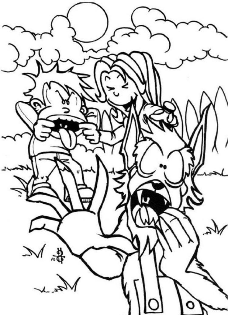 Halloween Werewolf And Kids Coloring Pages